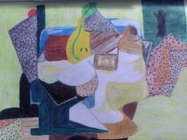 Fruit Dish On A Table-Picasso by hchic4life
