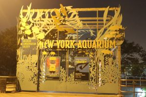 New York Aquarium Front Gate/Fish/Reef/BackG Stock by BeccaB323