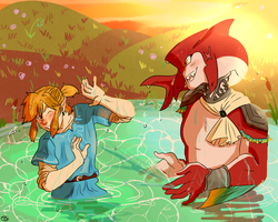 Link and Sidon playing in the river by Toastybumblebee