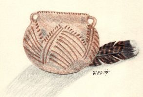 Ancient Pot with Turkey Feathe by CherokeeGal1975