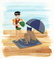 Batman and Robin At The Beach by TRAVALE