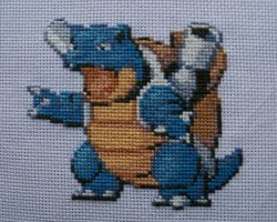 Blastoise Pokemon Cross-Stitch FOR SALE! by lizardlea