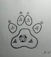 footprint of a wolf with tribals by Carlitos-Girl