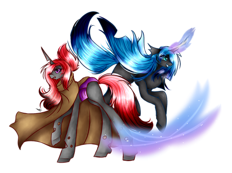 Scarlet Rose and Queen Cryostasis (Commission) by Alicornpony1234
