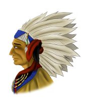 Native American Chief Colored by ViridianSoul