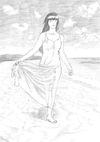 On the beach with Hinata by The-Hige