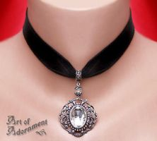 Harlequin Velvet Choker by ArtOfAdornment