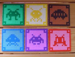 Hama Beads - Space Invaders by acidezabs