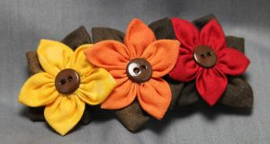 Fall Colors Fabric Flowers Hair Barrette by jenlucreations