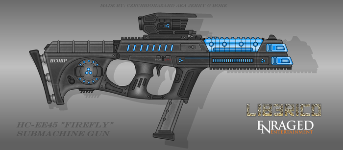 Fictional Firearm: HC-EE45 Firefly Plasma SMG by CzechBiohazard
