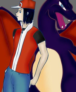 Calem as Red with shiny Charizard by Peggsi