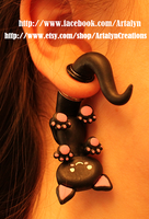 Black Ear Kitty plugs by Artalyn