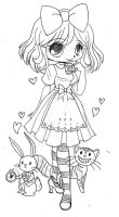 Alice in Wonderland Commission - Sketch by YamPuff