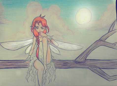 Fairy in pink sky by NaPoliana