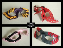 Fancy ribbon and rhinestone leather costume masks by nondecaf