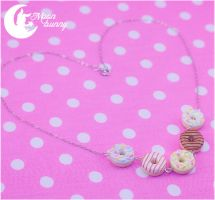 Assorted Sweet Donuts Necklace by CuteMoonbunny