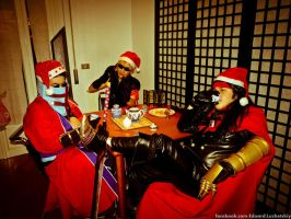 Cloud Strife at Christmas party by EduardLuzhetskiy