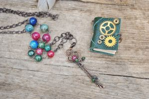 mini Book nacklace by twistedjewelry