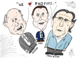 Akerman Ford and Marchionne caricature by optionsclickblogart