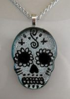 Sugar Skull Dichroic Pendant by HoneyCatJewelry