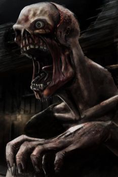Pissed off hungry zombie by Subject--Delta