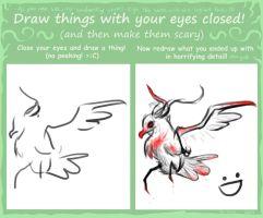 Draw things with your eyes closed meme! by BrookRiver