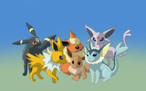 Eevee and its Evolutions by SarabiLioness