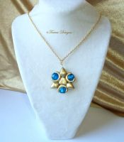 Zelda TP Zora Sapphire L Pendant Goldtone Necklace by TorresDesigns