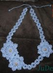 Blue Lacy Crochet Necklace by JuDe-Handmade