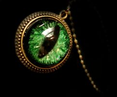 Green Bronze Steampunk Dragon Eye Necklace by LadyPirotessa