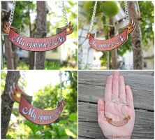 My Opinion is No - Text Banner Necklace by Tsurera