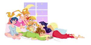 Slumber Senshis by GreenOverGreen