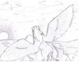 winged lion by wingLover