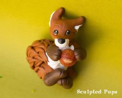Red fox with fire sphere sculpture by SculptedPups