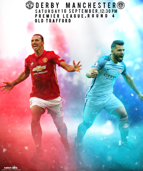 Man City V Man Utd Match Card by Abbes17