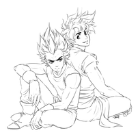 Goku and Vegeta [ink] by Emily-Fay