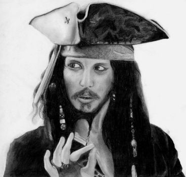 Jack Sparrow pencil drawing by Oliver-W00D