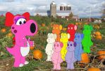 Birdo and the Gummie Bears in a Pumpkin Patch by FoxPrinceAgain