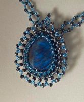 Blue light necklace N1254 by Fleur-de-Irk