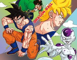 dragonball fan art goku and Freezer by oume12