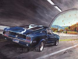 Blue Ridge Blitz (1968 Ford Mustang Painting) by FastLaneIllustration