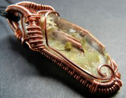 Quartz with chlorite inclusions wire wrap pendant by dogzillalives