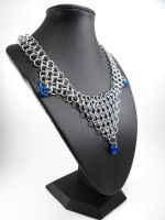Chainmail Bib Necklace Blue Mobius Drops by SerenityinChains