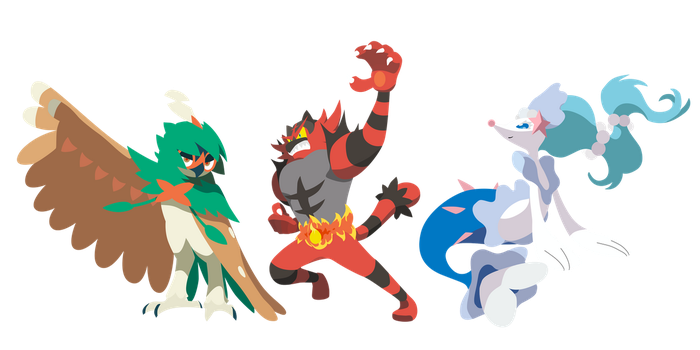 Pokemon Sun and Moon Starter Final Evos - Vectors by firedragonmatty