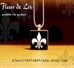 Fleur de Lis scrabble pendant by ElectrikPinkPirate