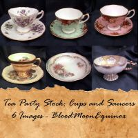 Tea Party Stock: Cups and Saucers by BloodMoonEquinox