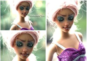 Scary Pink OOAK Doll Repaint 2 by kamarza