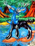 Legendary Xerneas colored with background by IggySeymour