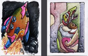 ACEO No004 and 005 by LaughtonMcCry