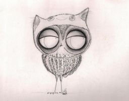 Owl in Cat-Hat by InkyDreamz